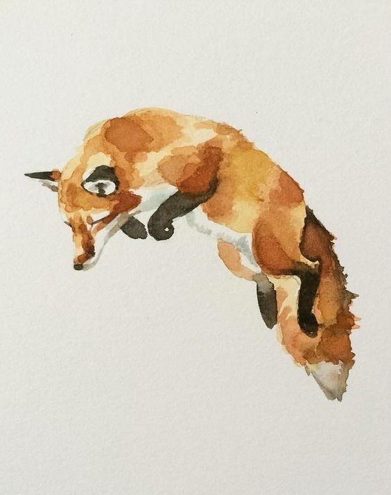 Lovely jumping fox tattoo design
