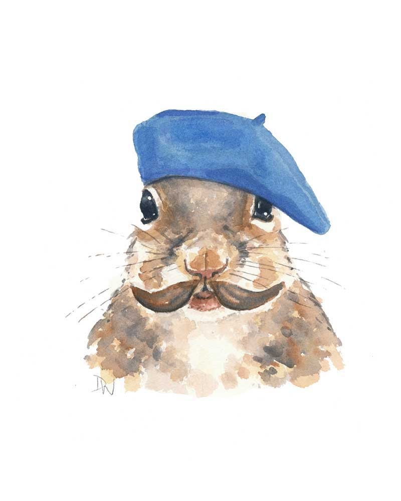 Lovely male squirrel in bright blue beret tattoo design
