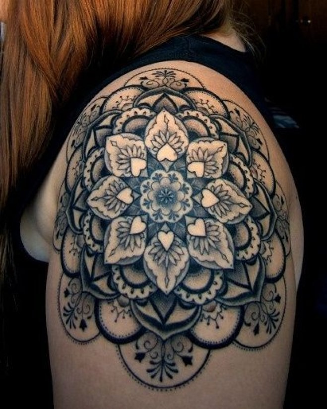 Lovely mandala flower with tiny hearts tattoo on shoulder