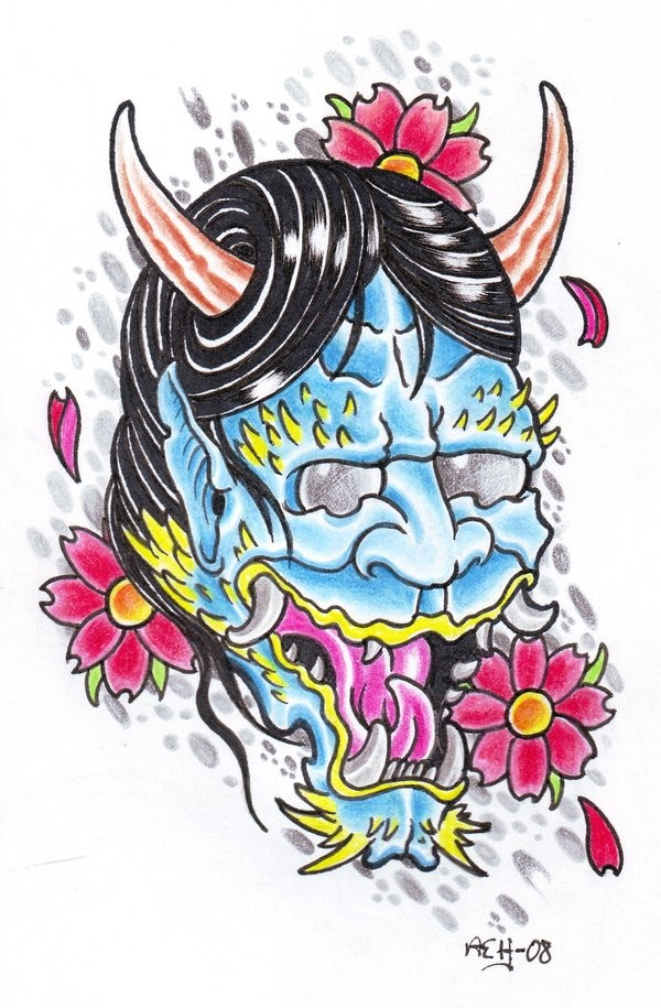 Lovely multicolor devil portrait and cherry blossom tattoo design by Viking Tattoo