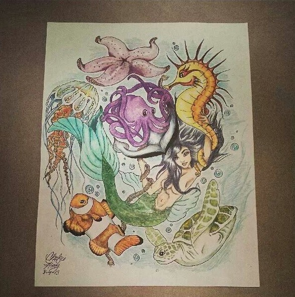 Lovely multicolor water animals with mermaid tattoo design