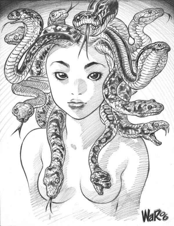 Lovely naked pencilwork medusa gorgona tattoo design