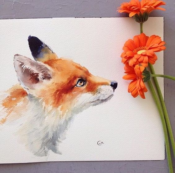 Lovely orange-and-white fur fox tattoo design