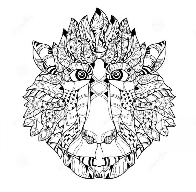 Lovely ornate baboon muzzle tattoo design