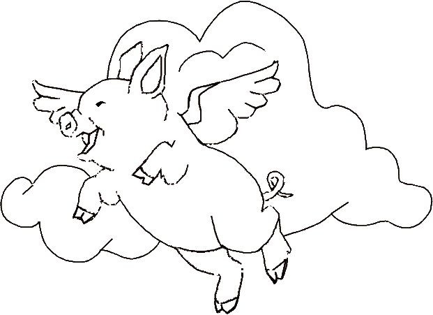 Lovely outline flying angel pig on cloudy background tattoo design