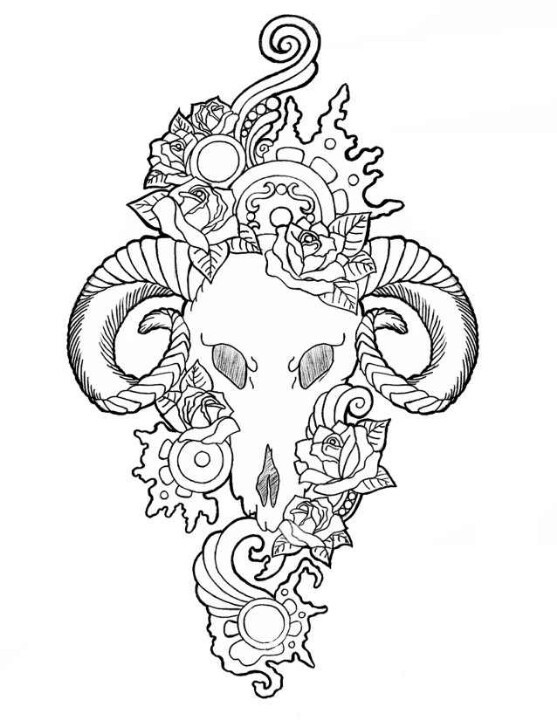 Lovely outline ram skull with cogwheels and flowers tattoo design