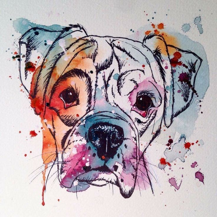 Lovely outline rottweiler muzzle with vivid watercolor effect tattoo design