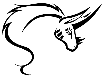 Lovely outline unicorn head tattoo design by Pretty Red Wolf