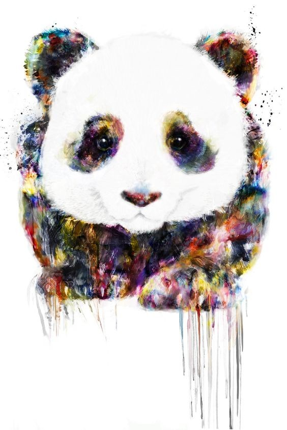 Lovely panda with rainbow watercolor fur tattoo design