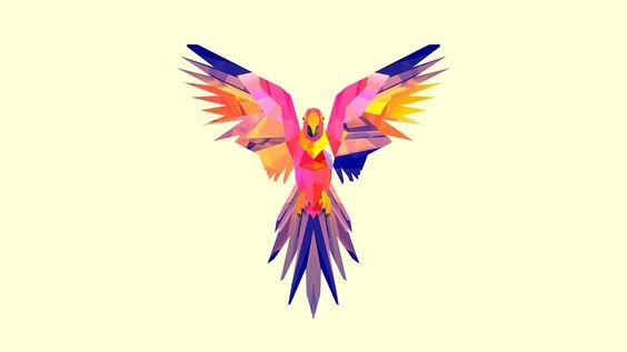 Lovely pink-and-blue open-winged parrot tattoo design