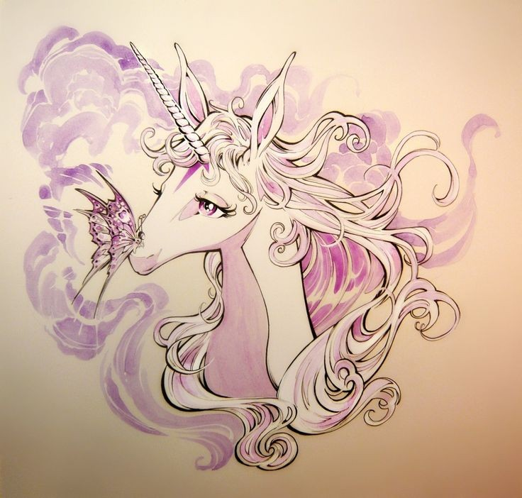 lovely purple and white unicorn with a butterfly tattoo. Black Bedroom Furniture Sets. Home Design Ideas