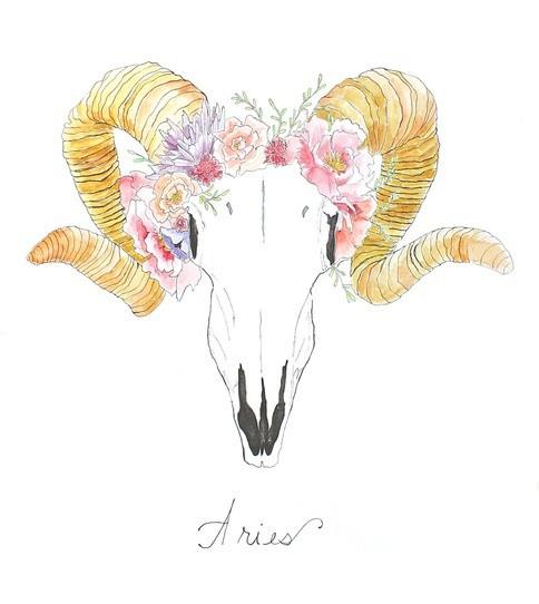 Lovely ram skull with golden horns an pink wreath tattoo design