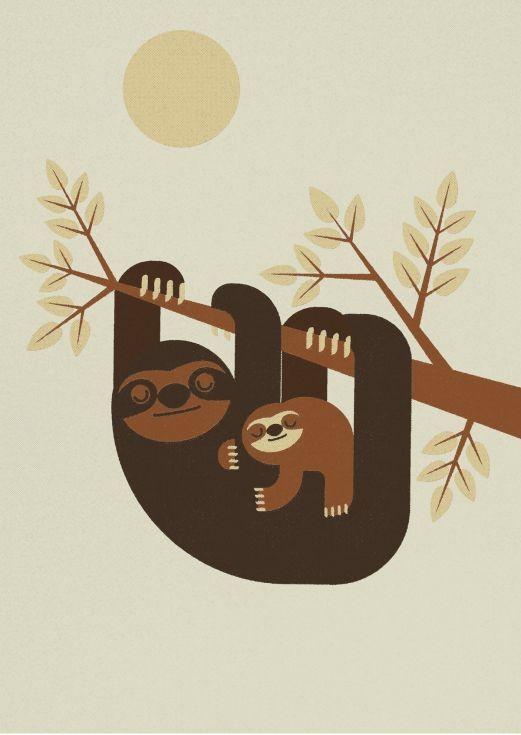 Lovely sleeping sloth family hanging on tree tattoo design