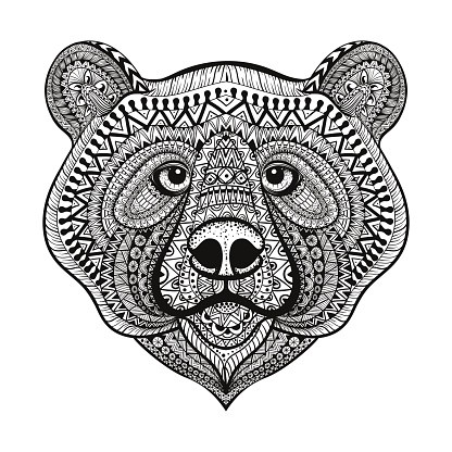 Lovely small-patterned grizzly muzzle tattoo design