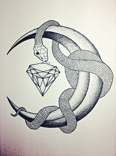 Lovely snake curled around dotwork moon and diamond tattoo design