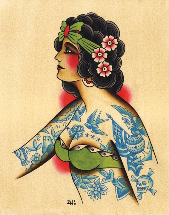Lovely tattooed old school style mermaid portrait in profile tattoo design