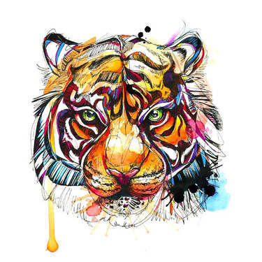 Lovely tiger head with watercolor effect tattoo design