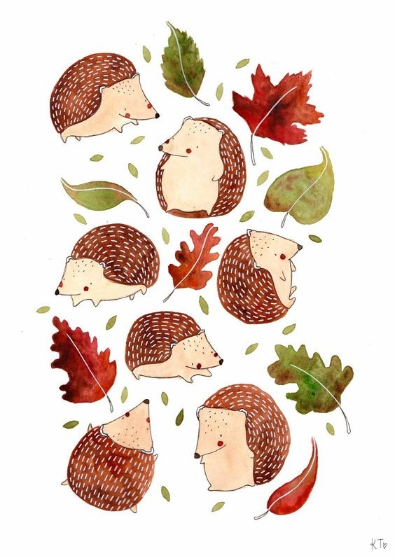 Lovely tiny hedgehogs flying among maple and oak leaves tattoo design