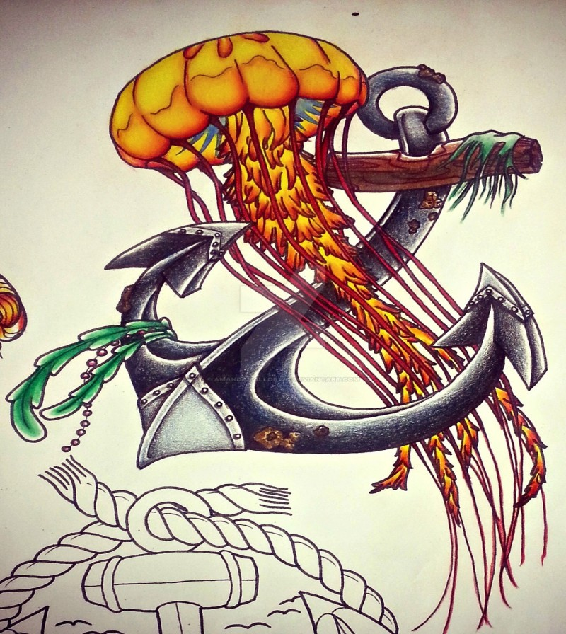 Lovely traditional orange jellyfish and big anchor tattoo design by Amanda Mallory42
