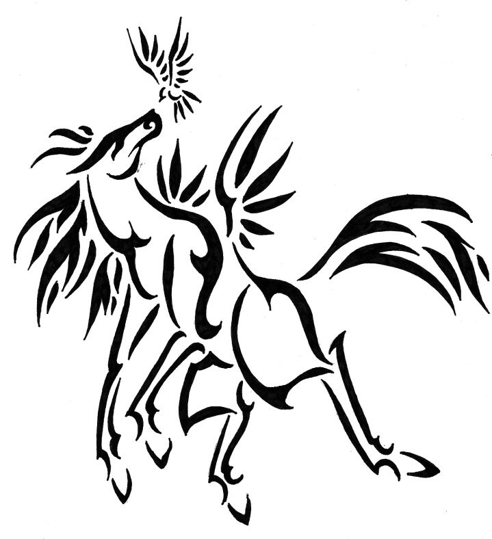 Lovely Tribal Horse Playing With Small Bird Tattoo Design