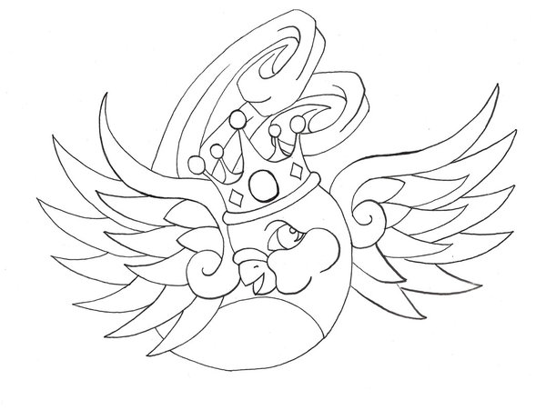 Lovely uncolored bird in crown tattoo design by Mstudios Design