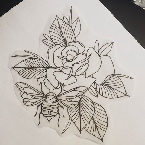 Lovely uncolored bug near gigant rose bud tattoo design