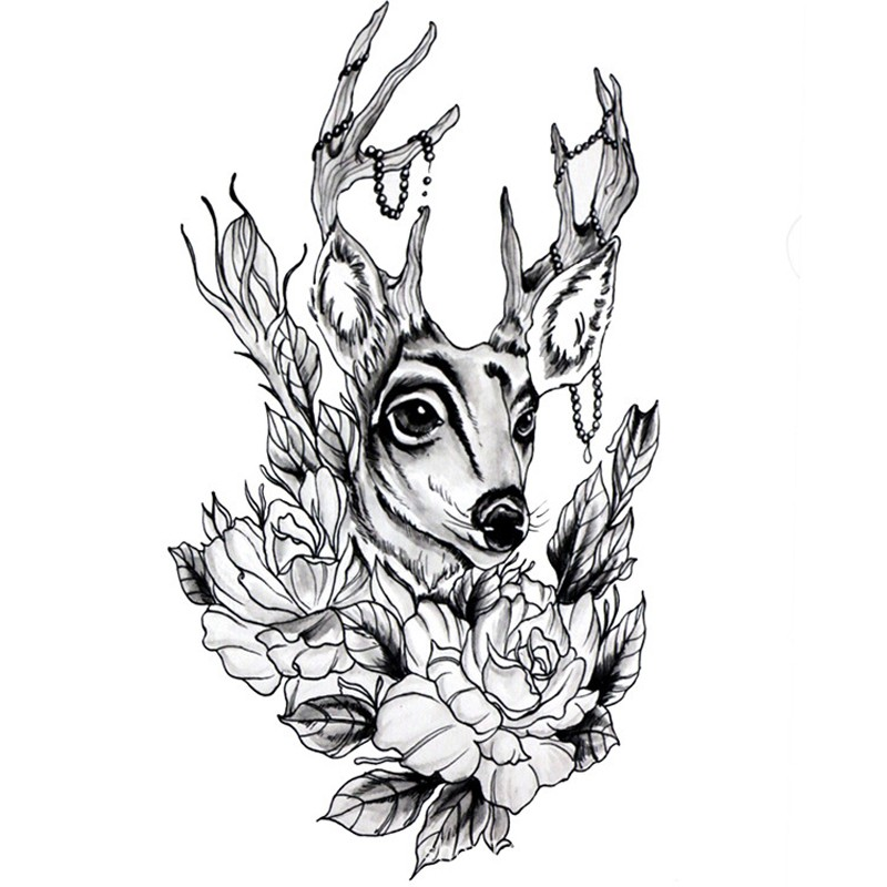 Lovely uncolored deer with beaded horns and flowers tattoo design