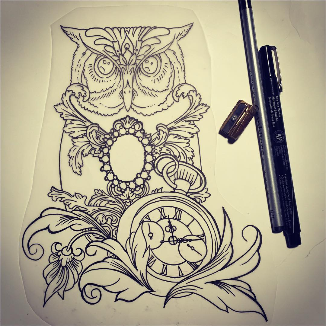 lovely uncolored owl with gem decorations and a clock
