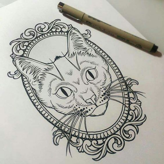 Lovely unolored cat portrait in mirror frame tattoo design