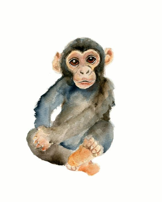 Lovely watercolor chimpanzee baby tattoo design