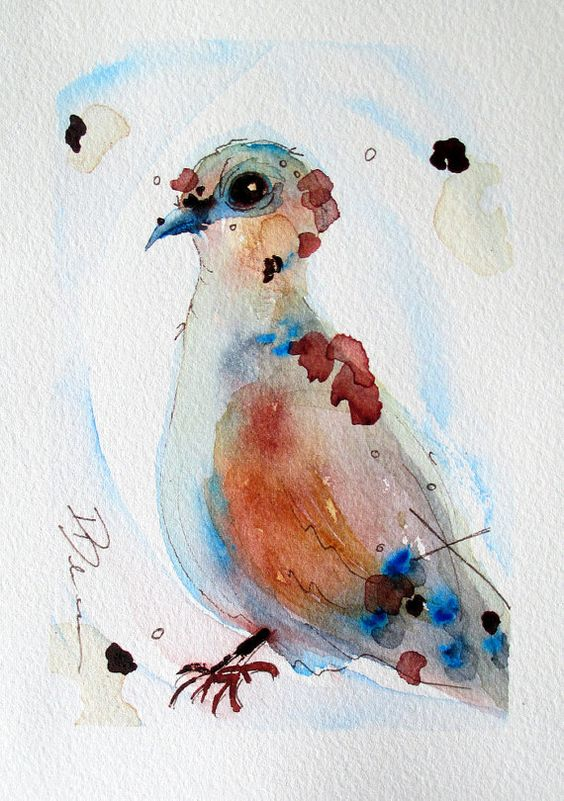 Lovely watercolor dove with brown wings tattoo design