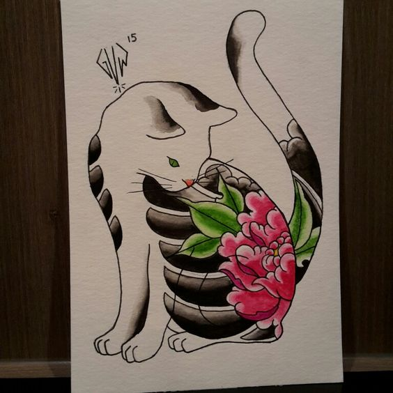 Lovely white cat with chinese pattern tattoo design