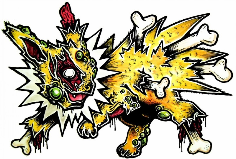 Lovely yellow zombie pokemon with a lot of bones tattoo design