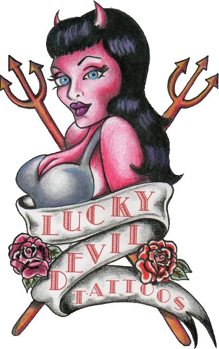 Lucky pink-skin devil girl curled with a bunner tattoo design
