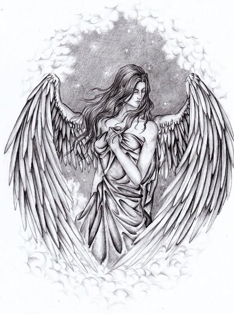 Luxury angel woman hiding her body with a silk tattoo design