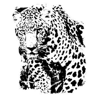 Luxury black-and-white leopard tattoo design