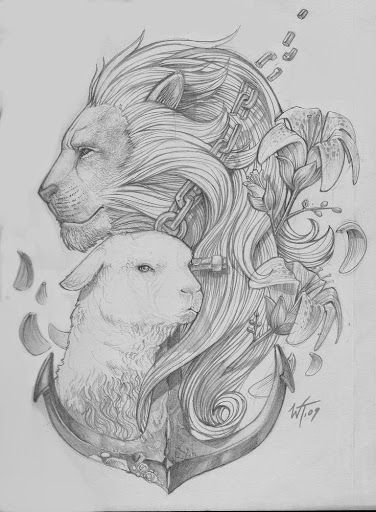 Luxury black-and-white lion and sheep with anchor tattoo design