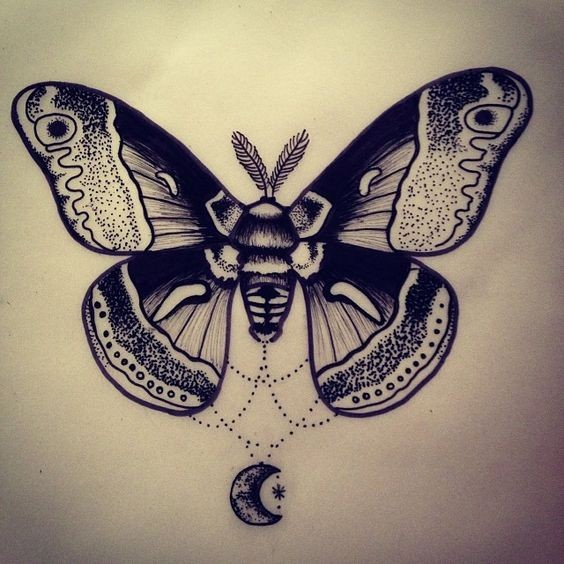 luxury black and white moth with half moon hanging on lace tattoo design. Black Bedroom Furniture Sets. Home Design Ideas