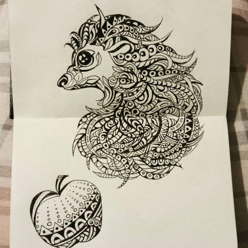 luxury black ink patterned hedgehog and big apple tattoo design. Black Bedroom Furniture Sets. Home Design Ideas