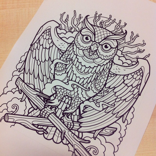 Luxury black-line owl with crossed branches tattoo design