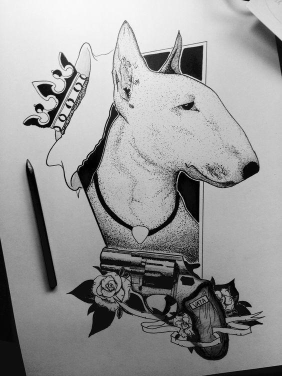 Luxury bull terrier dog with crown and gun tattoo design