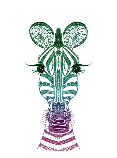 Luxury colored ornate zebra head tattoo design