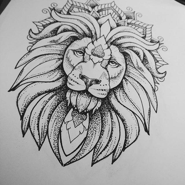 luxury dotwork lion in mandala crown tattoo design. Black Bedroom Furniture Sets. Home Design Ideas