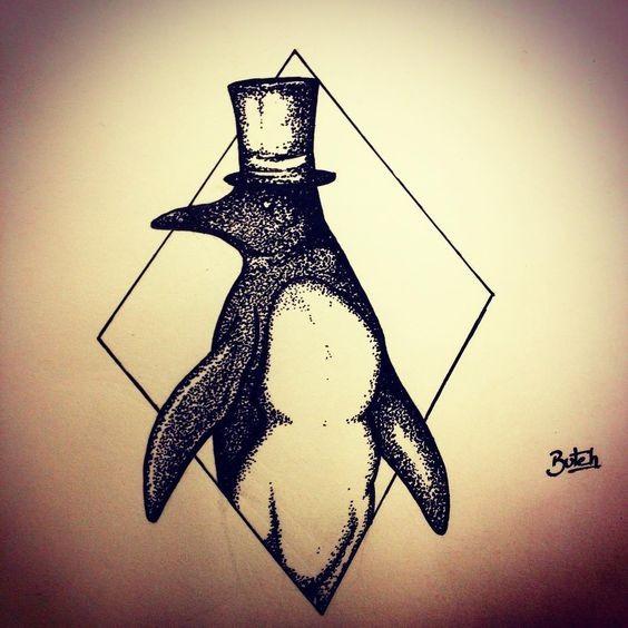 Luxury dotwork sir penguin in hat in rhombus frame tattoo design
