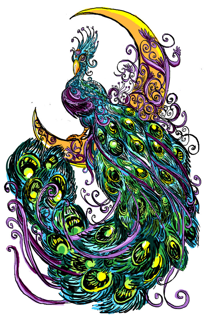 Luxury green-and-blue peacock sitting on yellow moon tattoo design by Rawyen