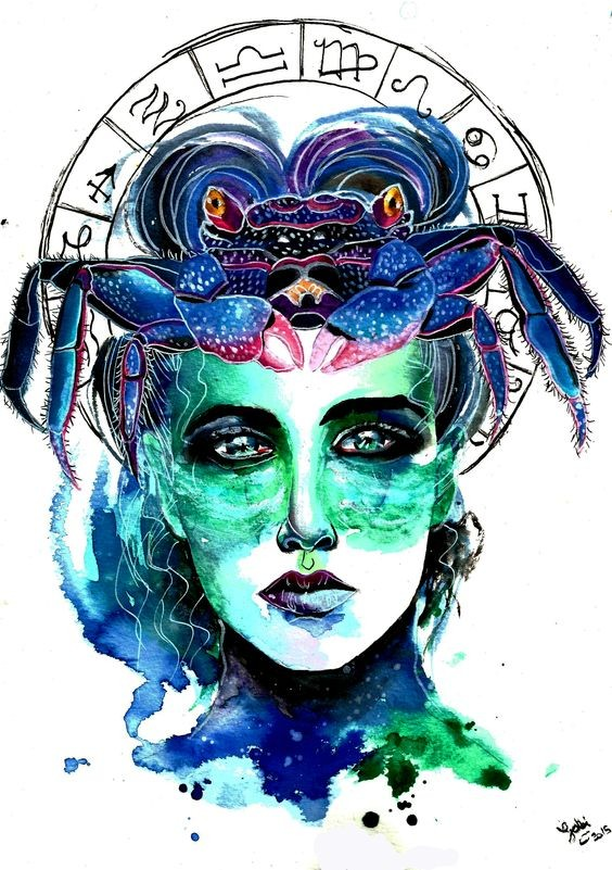 Luxury green-and-blue watercolor womans face with crab and zodiac circle tattoo design