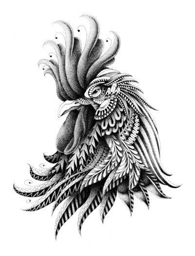 Luxury grey-ink rooster portrait tattoo design