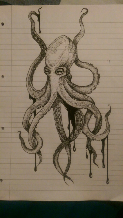 Luxury grey dotwork octopus tattoo design
