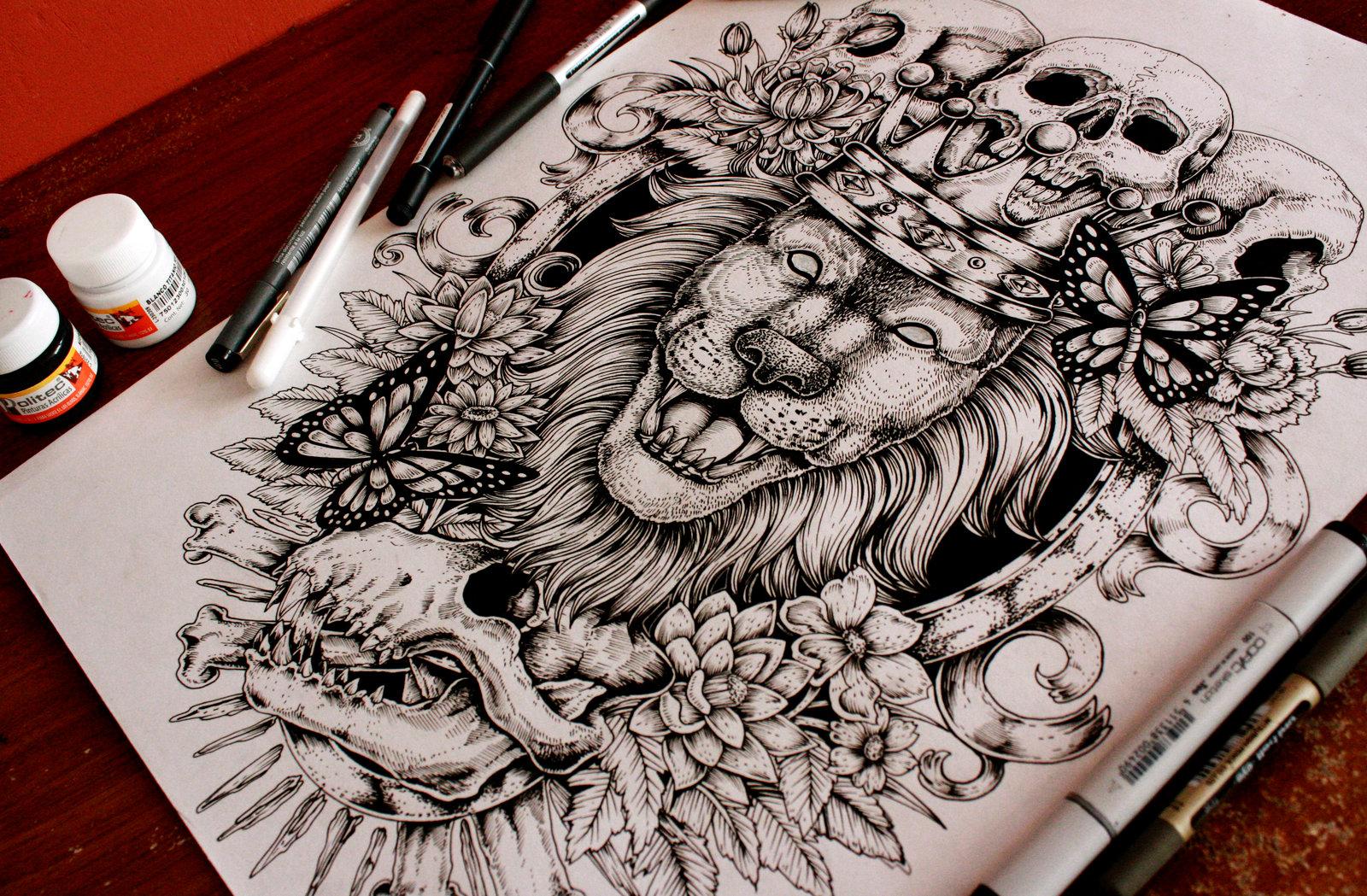 luxury huge lion head and skulls tattoo design by eg thefreak. Black Bedroom Furniture Sets. Home Design Ideas