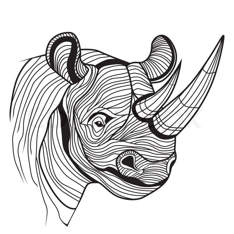 Luxury line-patterned rhino portrait tattoo design
